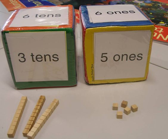 Place value die... a cube for tens and ones. Can easily be extended for larger numbers... hundreds, one thousands, ten thousands etc - Image only, but the image is inspiration enough!