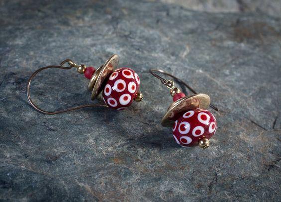 handmade lampwork earrings ethnic earrings red and par entre2et7