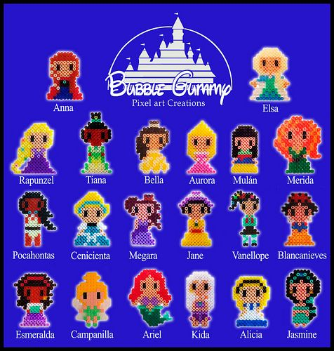 Disney girls hama beads by Bubble Gummy Pixel Art  - https://www.facebook.com/bubblegummypixel