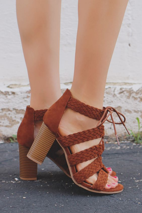 Braided Strappy Lace Up Wooden Block Heels Lucite-84A – UOIOnline.com: Women's Clothing Boutique