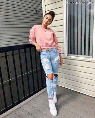 Pantalones Rotos De Moda Pantalones Rotos Mujer Outfits Jeans De Moda