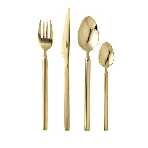 Guld Tvis bestik (sæt med 4 af hver) via Ilva, 1.200 kr.