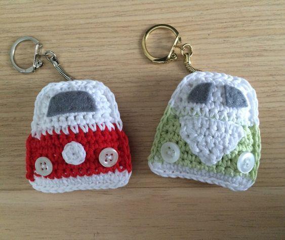 Campervan Tea Cosy Knitting Pattern : VW Campervan Crochet Keyring by FloAndDotShop on Etsy crochet applique Pi...