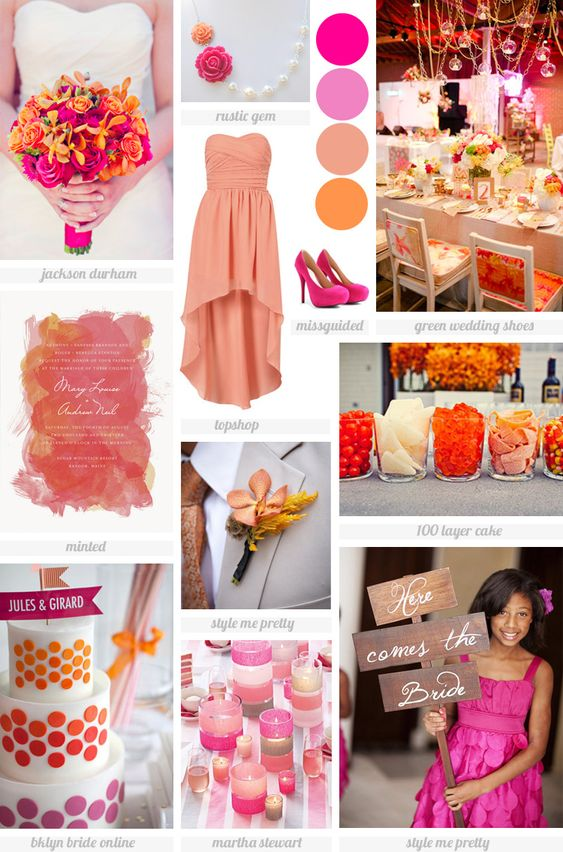 vibrant orange and pink mood board