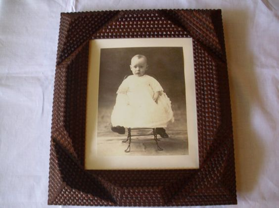 Handcarved  Wood Tramp Art Frame 8 X 10 Frame by OffRoadPickers, $135.00