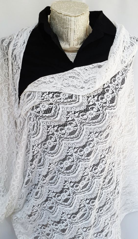 White Lace Scarf Lightweight Soft White Lace Tulle by HeraScarf, $12.90