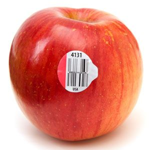 Who knew the stickers on apples could tell you so much!  -4 digits indicate that it's your basic, conventionally grown piece of produce (grown with chemical fertilizers, fungicides, or herbicides).  - 5 digits beginning with a 9 indicate that it's organic (no synthetic flavors, colors, sweeteners, most preservatives, toxic or long-lasting pesticides and fertilizers, or  genetic engineering).  - 5 digits beginning with an 8 indicate that it's genetically modified.