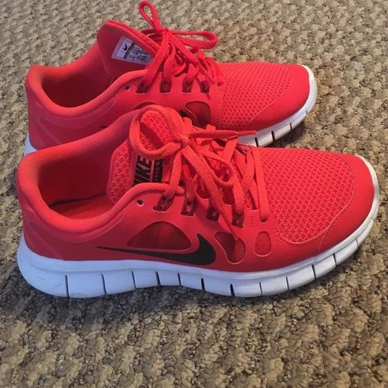 Red Nike Frees 5.0 Red Nike Frees 5.0 that are barely used. Love the color, but have not really used them; I bought them because the color reminded me of Kanye's Red October sneakers. ⭐️Please note: these are kids size 5Y. They fit me (size 6) perfectly. Nike Shoes Sneakers