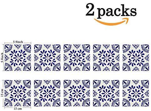 Amazon Com Poromoro Spanish Portuguese Azulejo Style Peel And Stick Tile Stickers Set Of 20 Pcs 5 9x5 9 Peel And Stick Tile Sticker Set Wall Stickers Murals