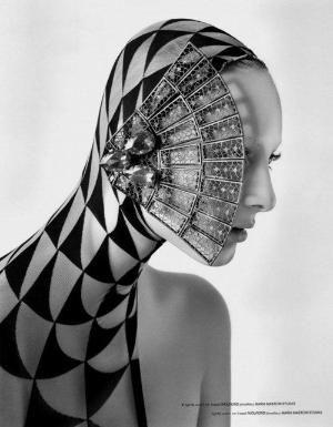 #avant #garde #blackandwhite #fashion #editorial #excessive #unusual #extreme #ornamentation #female #model by robindu