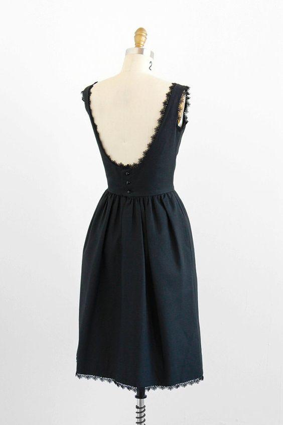 vintage 1960s black dress / 1950s dress / Little Black Backless Lace Trimmed Audrey Hepburn Dress