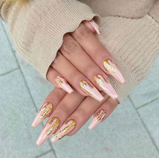 Pink French Hand Drawn Flowers Acrylic Nails Nails Nail Designs Acrylic Nails