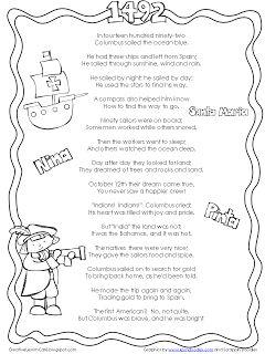 Freebie! Christopher Columbus poem from http://creativelessoncafe.blogspot.com
