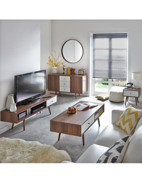 Monty 1-Drawer Retro TV Unit in Walnut-Effect and White. Up to 60 Inch TV.The fabulous fifties have made a return to the forefront of home fashions and this television stand from our new Monty collection is an affordable way to capture the retro look.Its unmistakable mid century design features the era's distinctive tapered splayed legs, while a classy walnut-effect finish is offset by the brightness of the white drawer front. A wide display shelf for your DVD player and set-top box…