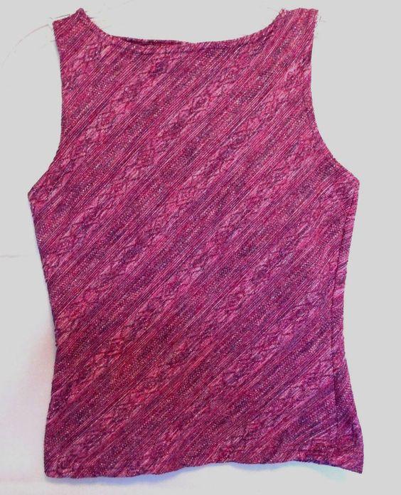 Aqua Blues Metallic Stripes of Pink Shades Size M Stretch Poly USA #AguaBlues…