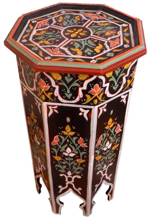 Mesas Marroquíes en bodega Miami, entrega 7 a 10 días #Colombia - Solicitar cotizacion:  norlu333@hotmail.com  Moroccan Wood Side Table Corner Coffee Handmade Handpainted Moorish Middle East #Handmade #Moroccan