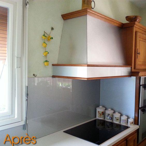 R novation de cr dence de cuisine en verre laqu aluminium paillete cr denc - Renovation credence cuisine ...