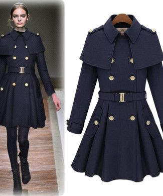 Military Style Navy Blue Winter Trench Coat Double Breasted