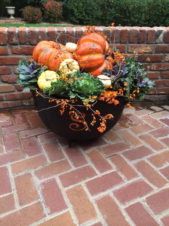 Pumpkins cabbages and planters on pinterest Fall outdoor decorating with pumpkins
