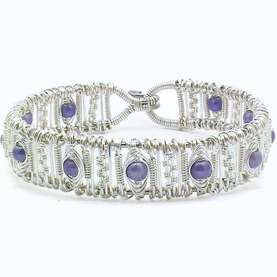 Intricate Wire Woven Purple Bangle Bracelet. $60.00, via Etsy.