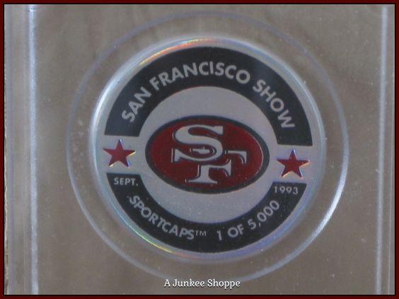 "SAN FRANCISCO 49er's 1993 Set Of 2 Milk Cap POGs ""1 Of 5000"" By Sportcaps  Junk 651  http://ajunkeeshoppe.blogspot.com/"