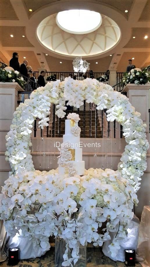 White Hydrangea White Orchid Cake Ceremony Arch Maharani Weddings