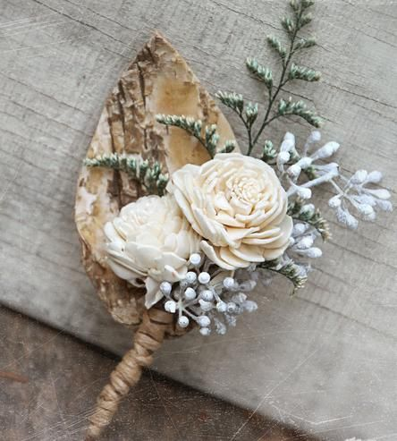 Birch Forest Dried Flower Boutonniere: