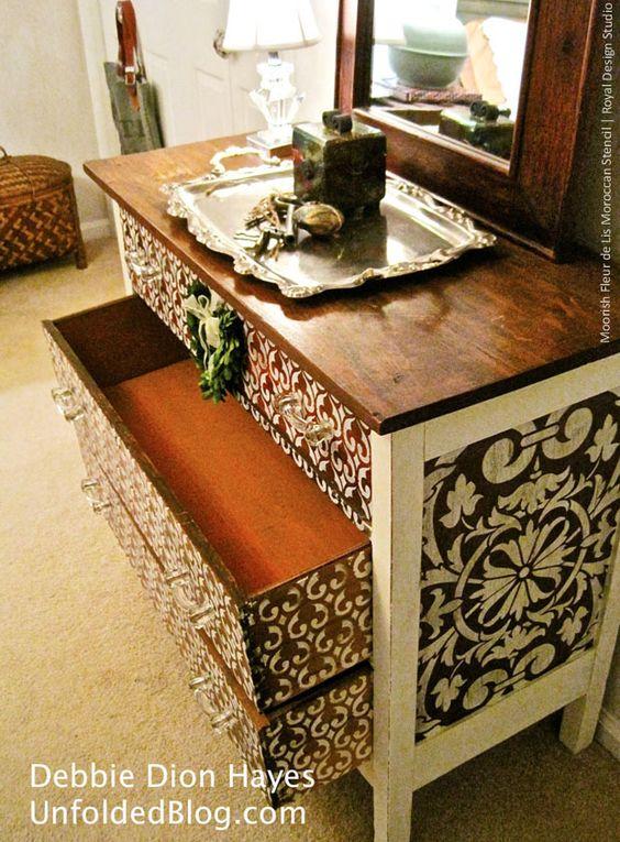 Diy Painted Stencil Bathroom Floor: DIY Painted Furniture Moorish Fleur De Lis Moroccan