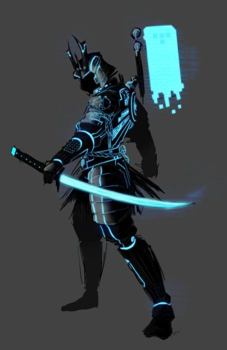 Cool samurai artwork crossed with (what looks like) Tron-style graphics, by superkusokao. Awesome!