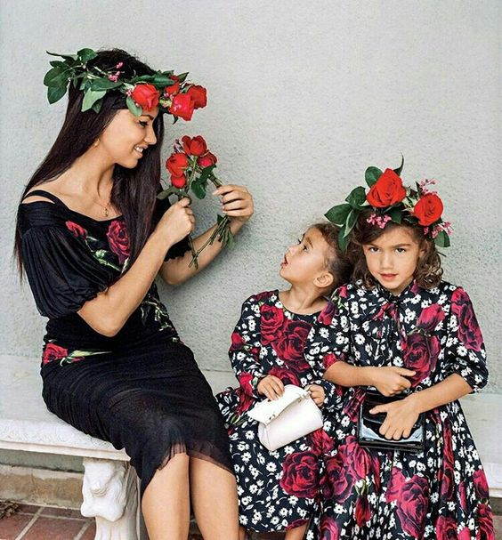 Adriana and her daughters Sienna and Valentina for Vogue USA September '15…