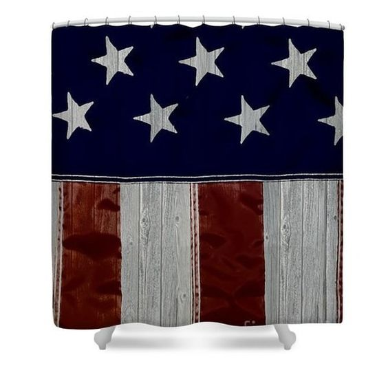 Rustic American Designer Shower Curtain American Flag Bathroom
