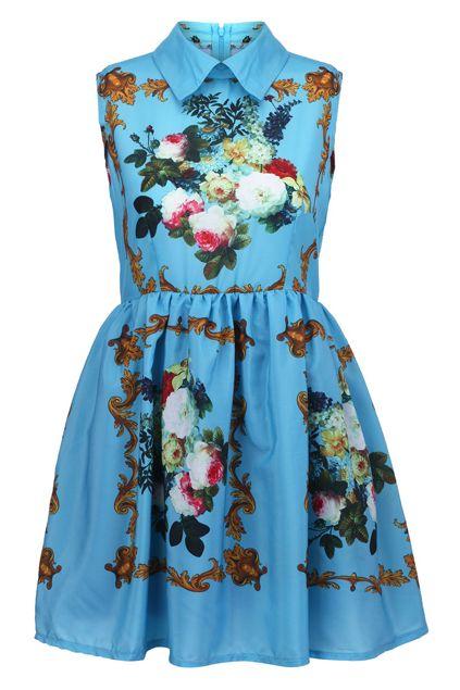 Retro Printing Blue Dress