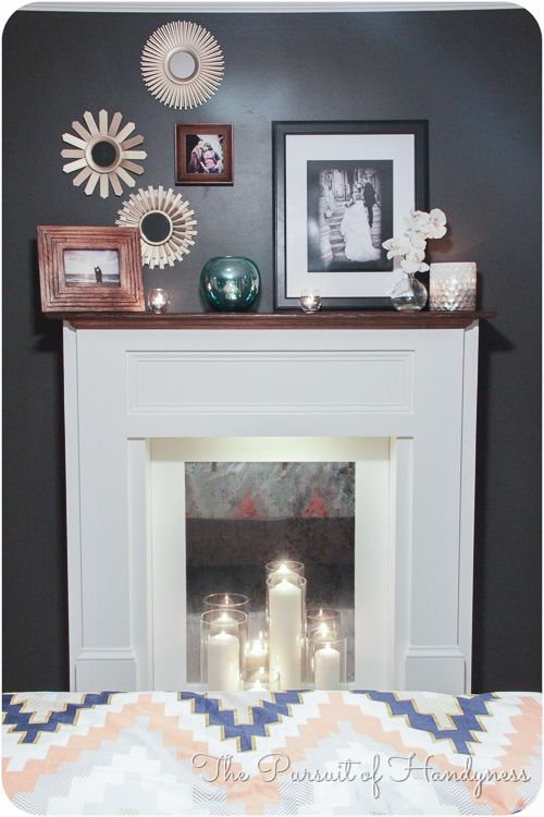 diy faux fireplace for under usd w a basic saw. Black Bedroom Furniture Sets. Home Design Ideas