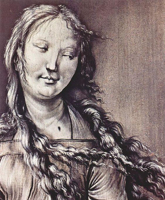 Mathis Gothart Grünewald - Altare Heller - dettaglio di una SANTA MARTIRE- pannelli esterni, dipinti a monocromo, pare che lavorò anche il giovane Matthias Grünewald.