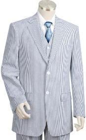 2pc 100% Cotton Seersucker Seersucker Suits Double Breasted Suits