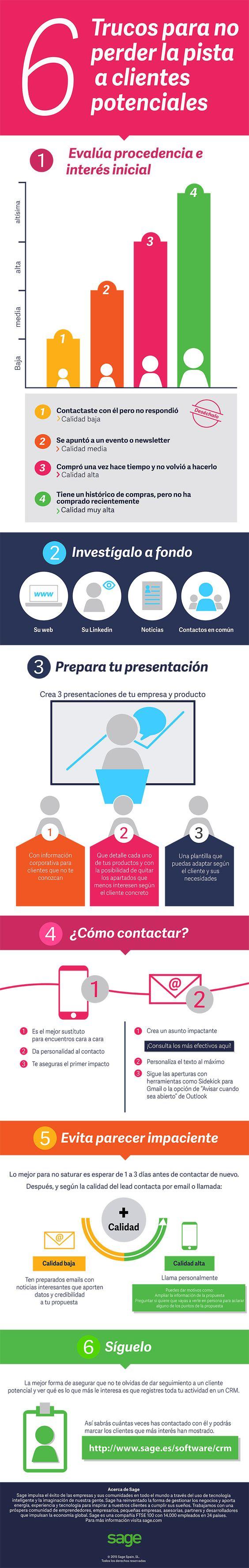 6 Trucos para no perder la pista a clientes potenciales #infografía #infographic #marketing