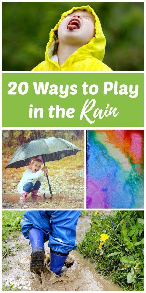 20 Ways to Play in the Rain Kids Outside Activities via @rhythmsofplay