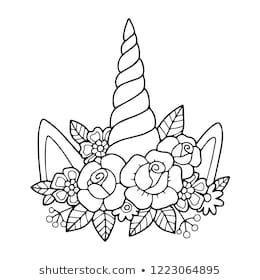 Lovely Vector Drawing Of The Unicorn Horn With Mane Black And White Illustration With Outline Perfect Fo Einhorn Zeichnen Malvorlagen Blumen Einhorn Basteln