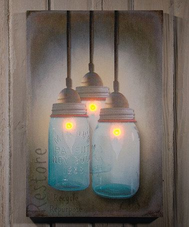 Mason Jar Bulbs Light-Up Canvas Gorgeous painting. Perfect for a country home or rustic cabin.