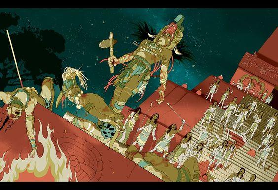 Ricostruzione della vittoria  delle armate del Serpente  di Calakmul  su quelle di Tikal ,la cui sconfitta ,   29 aprile del 562 d.C. , ne provocò un declino durato 130 anni. Nell'illustrazione di Tomer Hanuka , il sovrano di Calakmul ,Testimone Cielo sovrasta trionfante il re di Tikal Doppio Uccello, legato ai suoi piedi. Sappiamo che Testimone Cielo morì dieci anni dopo la sua vittoria, quando ancora non aveva superato i quarant'anni