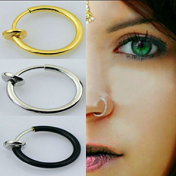 2 gold clip on faux body piercing hoops Works perfect for any cartilage piercing place lip nose septum ear or belly! Jewelry Rings
