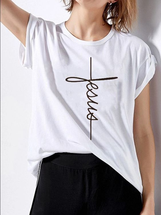 Round Neck Letters Short Sleeve T-Shirt