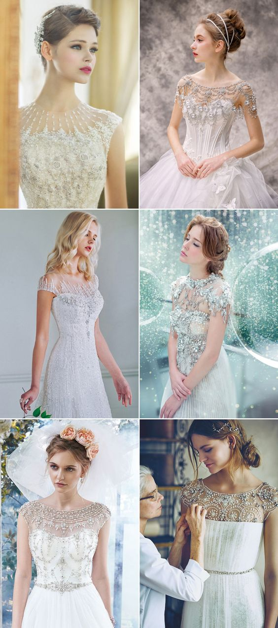 Every bride has her own unique facial features and body shape, and when it comes to choosing your dream wedding dress, the neckline is the key to achieve a look that flatters your figure and face. Get ready for some beautiful neckline trends below, and discover the best for you!   Jeweled Neckline Dresses (left …
