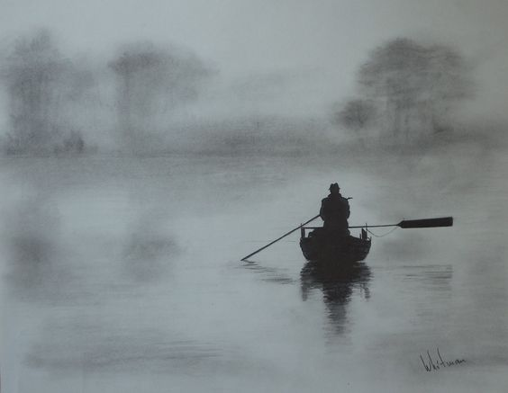 Misty morning fishing row boat pencil drawing by elena for Fishing row boats