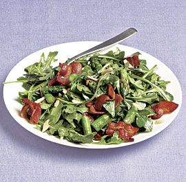 Wilted Arugula Salad with Asparagus, Bacon, Almonds, and Sherry Vinaigrette recipe
