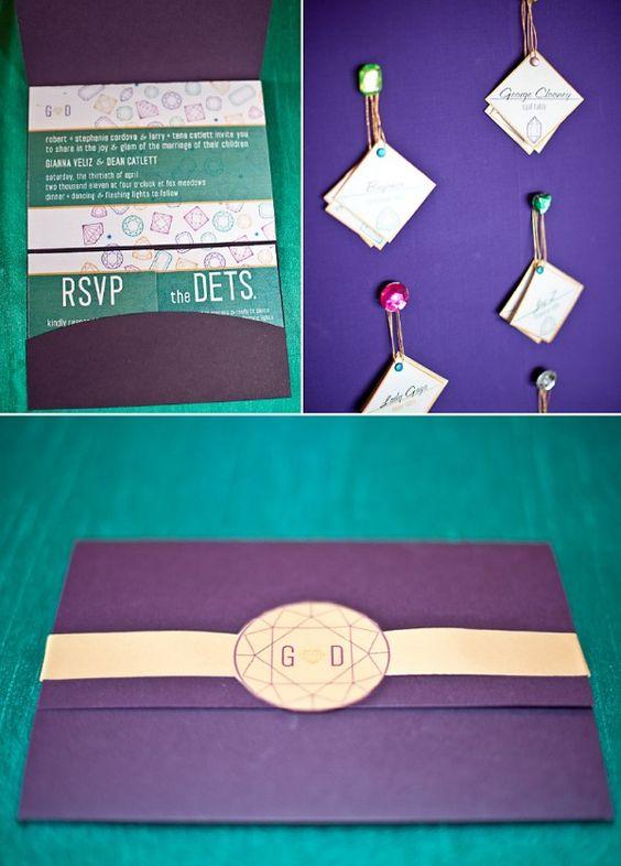 Jeweled Glitz Wedding Invite Set & Diamond Place Cards by Milk & Ice Cream