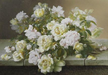 Raoul Victor Maurice Maucherat de Longpré (1843 - 1911) - Bouquet  of Roses - http://www.jeromefinearts.com/portfolio/raoul-victor-maurice-maucherat-de-longpre/ Jerome Fine Arts: Google+: