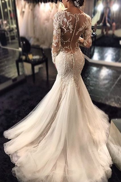 2016 Mermaid Wedding Dresses Long Sleeves Lace Beaded Sheer Back Sexy Bridal Gowns