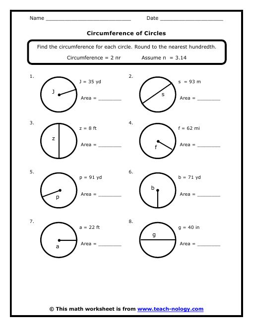 Circumference of a Circle worksheets – Area of a Circle Worksheet
