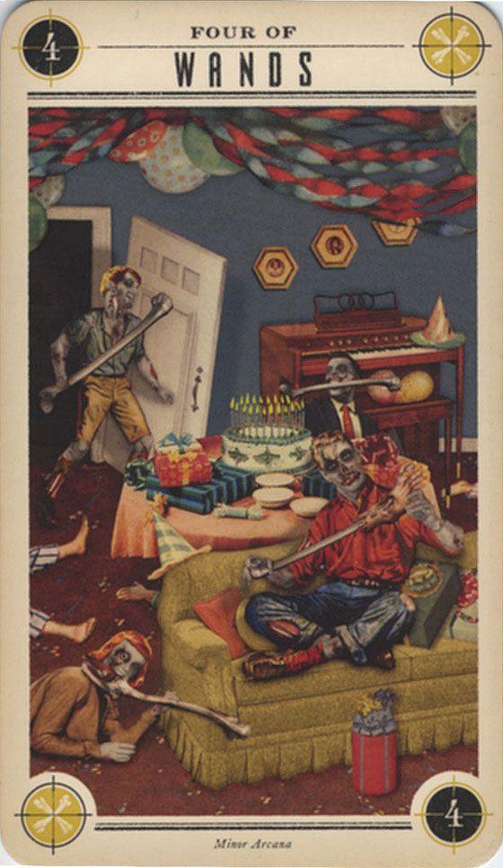 Zombie Tarot: Four of Wands